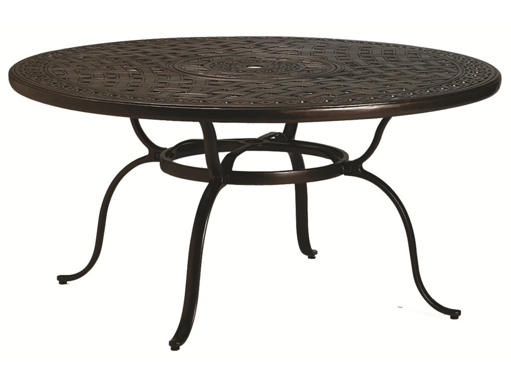 Outdoor round dining table - Outdoor Tables Outdoor Round Dining Table With Umbrella Hole By Tropitone