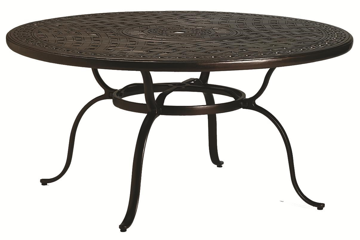 Outdoor Tables Outdoor Round Dining Table With Umbrella Hole By Tropitone