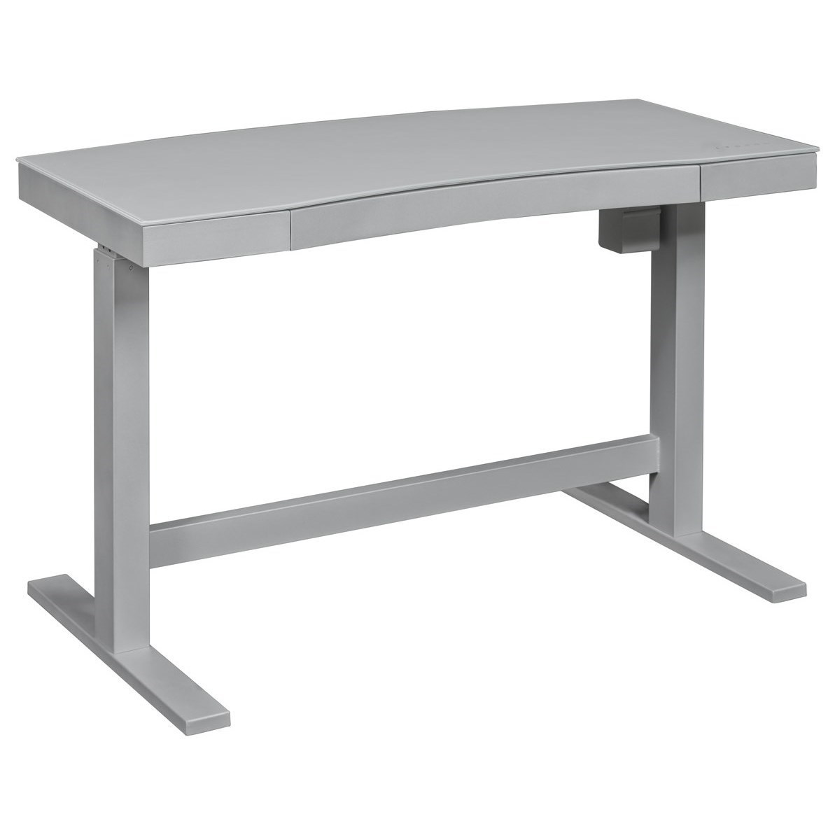 Glass top writing desk Table Ashford Contemporary Adjustable Standing Desk With Gray Frame And White Dry Erase Glass Top By Twin Star Home Darvin Furniture Twin Star Home Ashford Contemporary Adjustable Standing Desk With