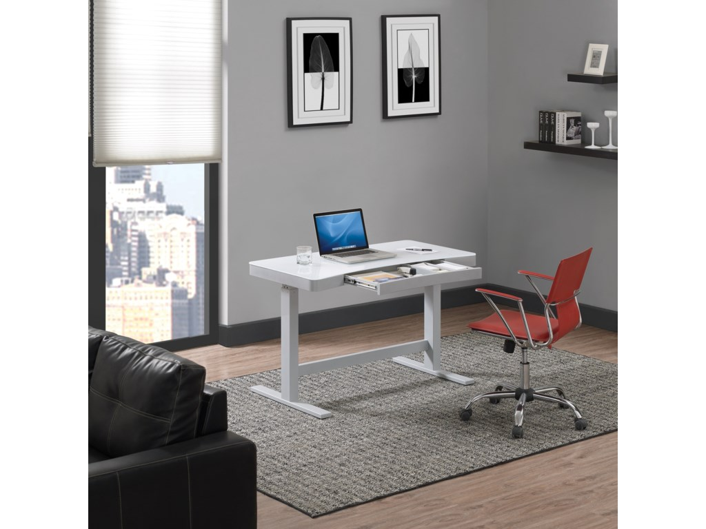 Twin Star Home AshfordCurved White / Grey Adjustable Desk