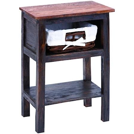 Wood/Rattan Side Table