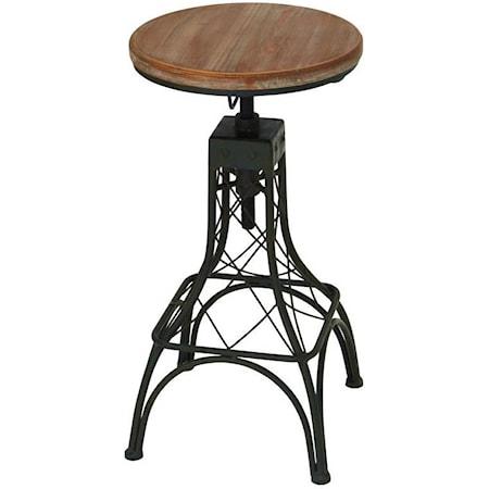 Metal/Wood Adjustable Bar Stool