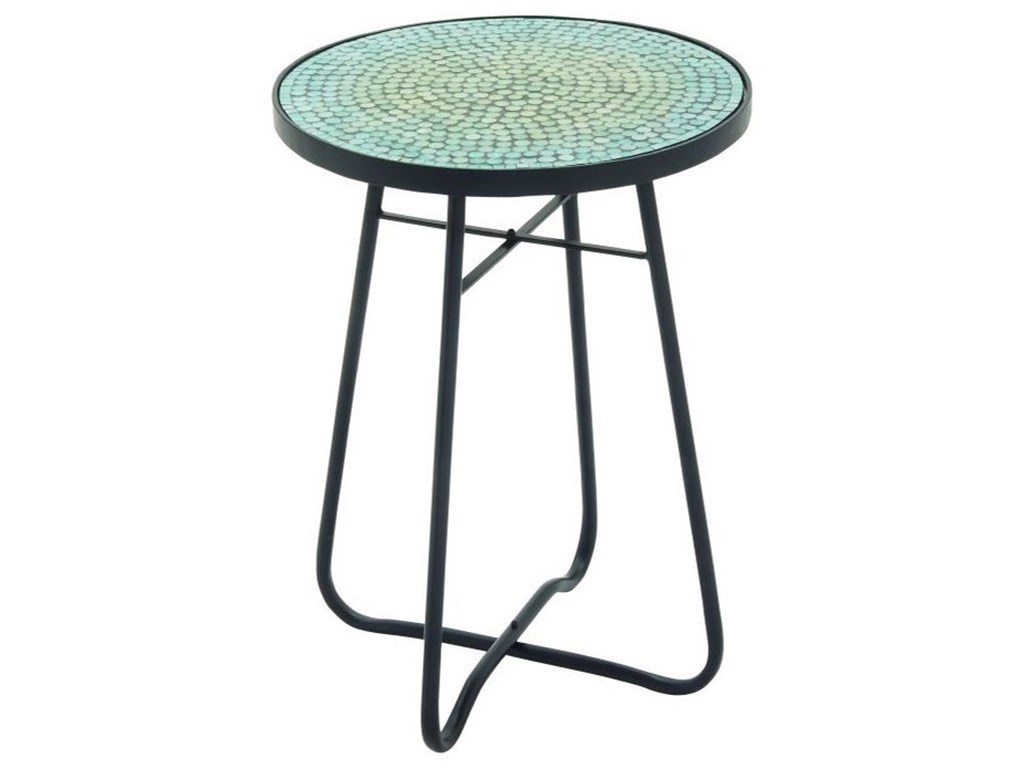 UMA Enterprises, Inc. Accent FurnitureMetal/Glass Round Turquoise Accent Table