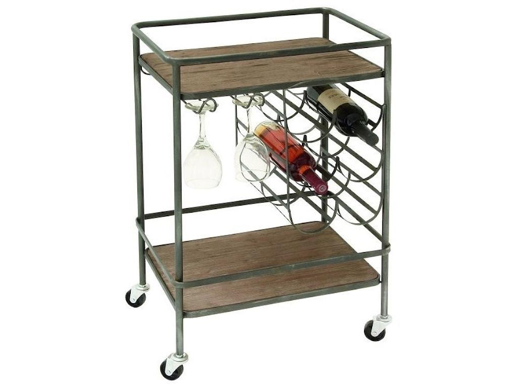 UMA Enterprises, Inc. Accent FurnitureMetal/Wood Wine Rack Bar Cart