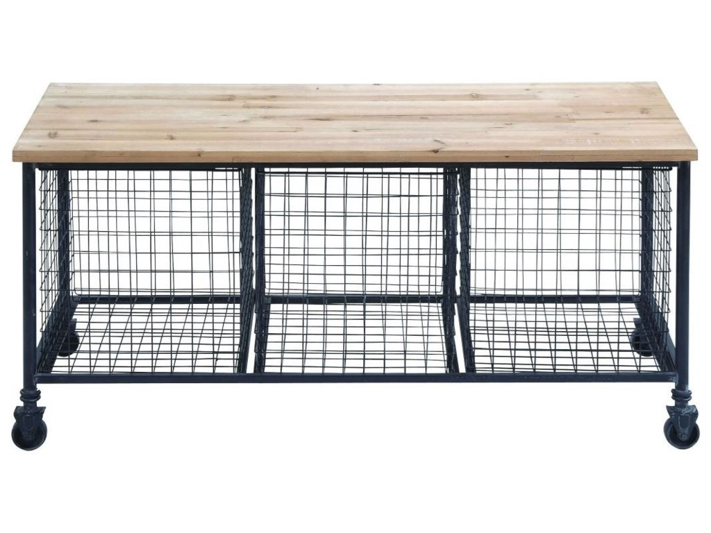 UMA Enterprises, Inc. Accent FurnitureMetal/Wood Bench w/ Baskets
