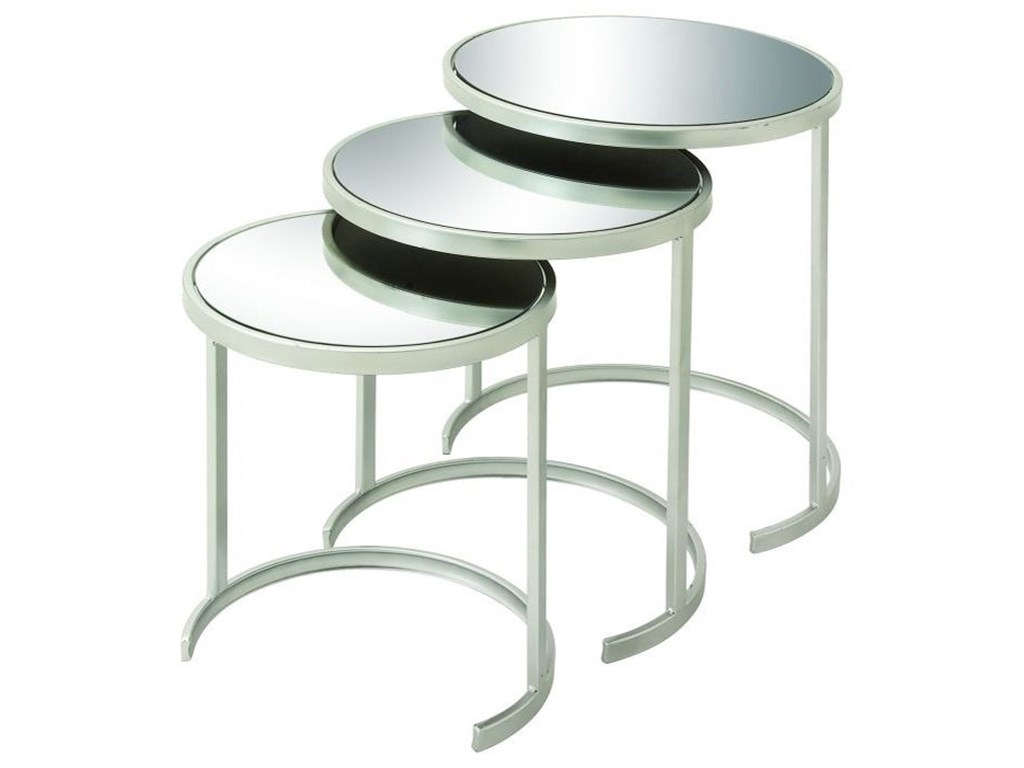 UMA Enterprises, Inc. Accent FurnitureMetal Mirror Nesting Tables, Set of 3