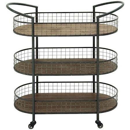 Metal/Wood 3 Tier Bar Cart
