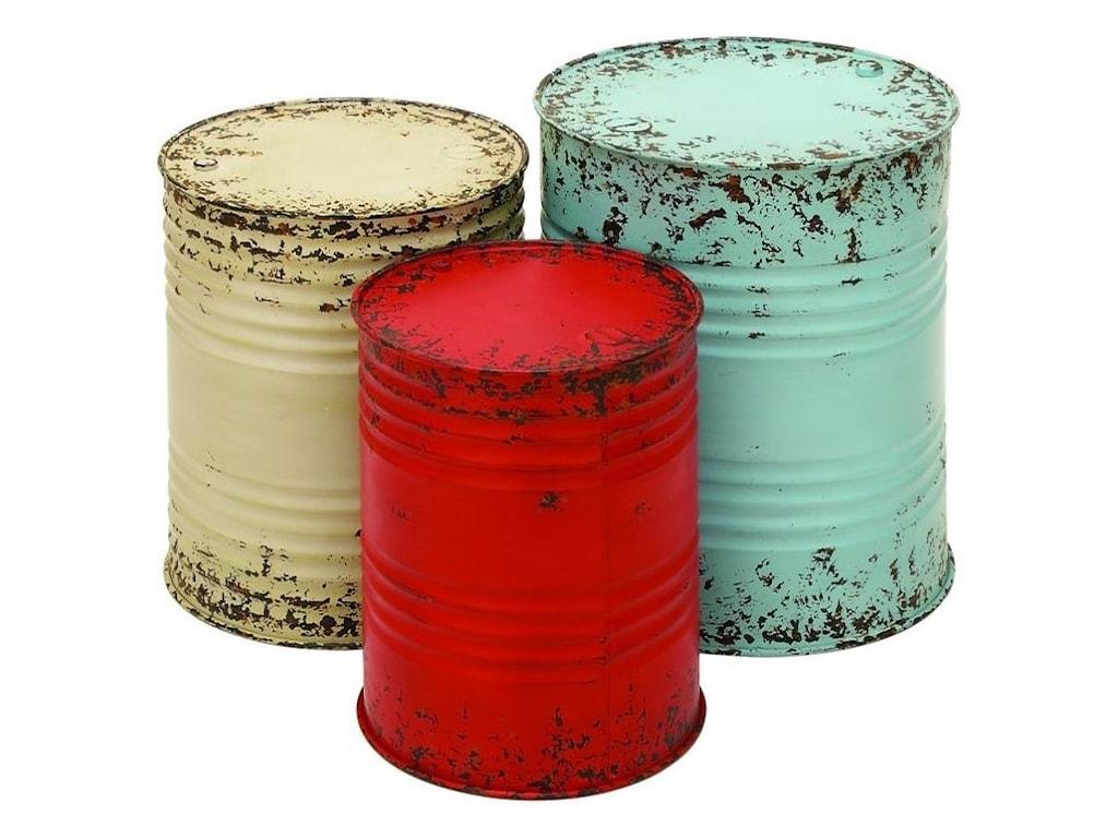 UMA Enterprises, Inc. Accent FurnitureMetal Drum Tables, Set of 3
