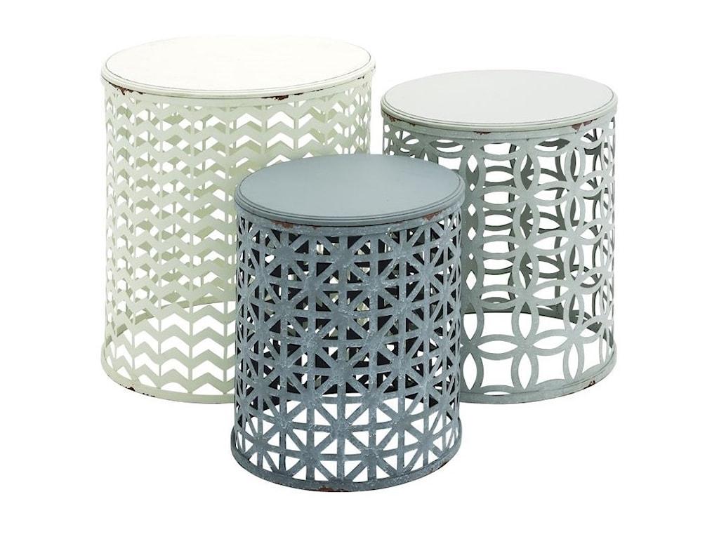 UMA Enterprises, Inc. Accent FurnitureMetal/Wood Accent Tables, Set of 3