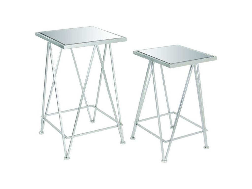 UMA Enterprises, Inc. Accent FurnitureMetal Mirror Side Tables, Set of 2
