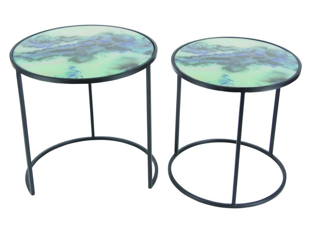 UMA Enterprises, Inc. Accent FurnitureMetal/Glass Accent Tables, Set of 2