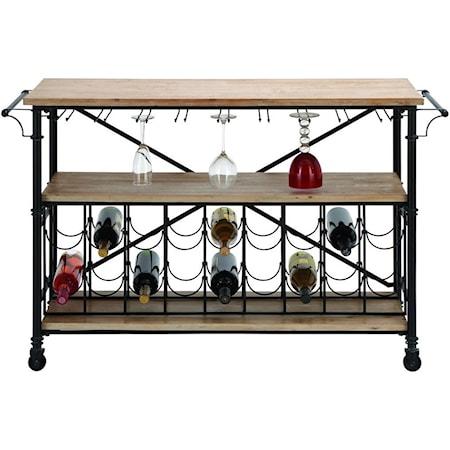 Metal/Wood Wine Rack Table