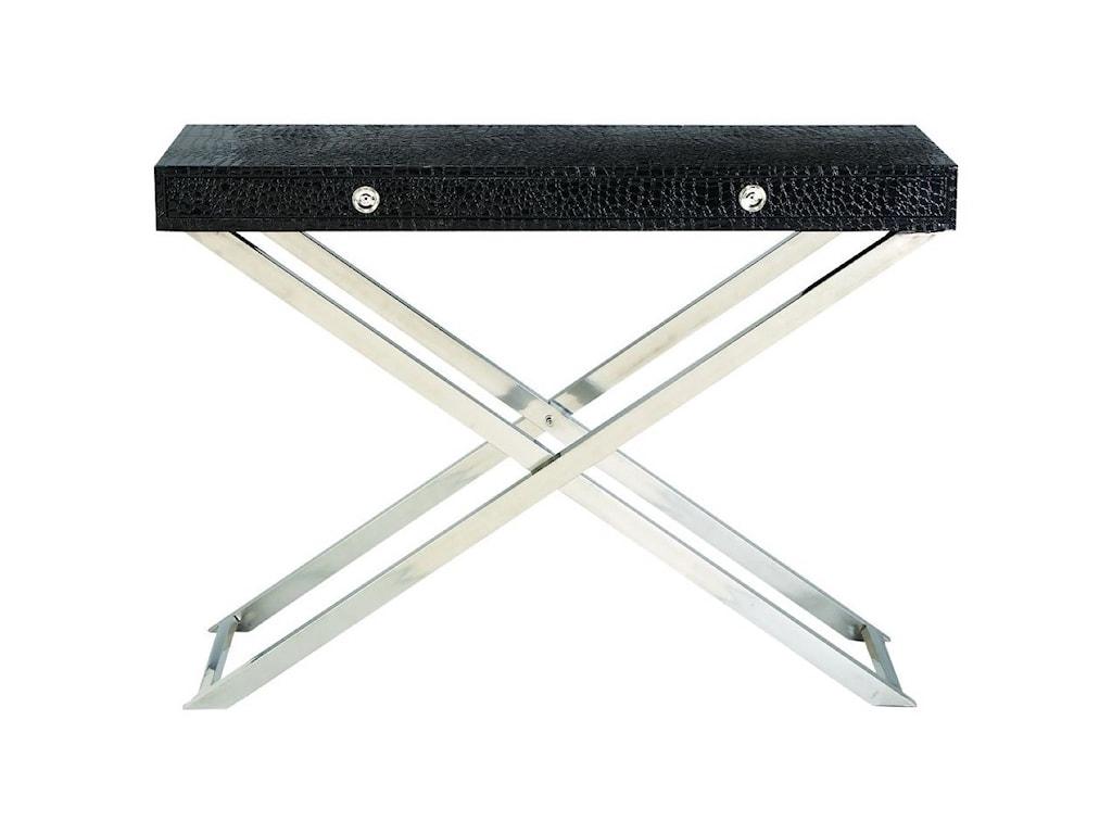 UMA Enterprises, Inc. Accent FurnitureStainless Steel/Faux Leather Console