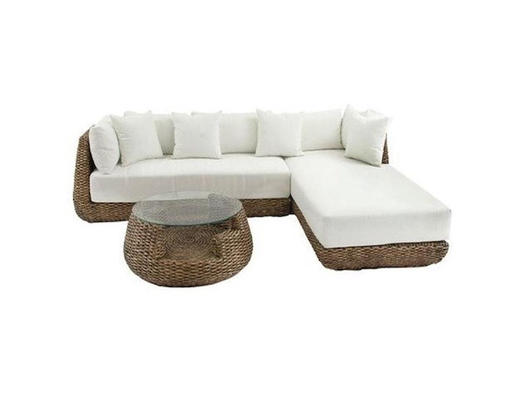UMA Enterprises, Inc. Accent FurnitureMetal Hyacinth Sofa Sectional with Table