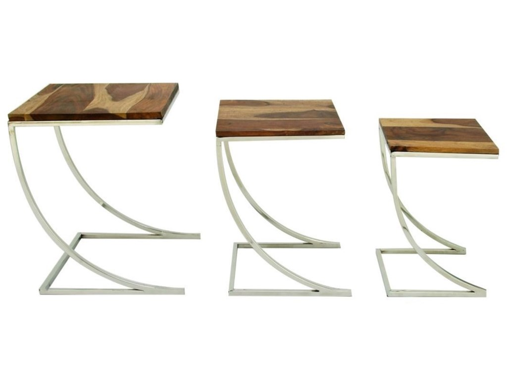 UMA Enterprises, Inc. Accent FurnitureWood/Stainless Steel Nesting Tables Set