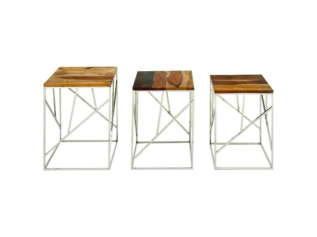 UMA Enterprises, Inc. Accent FurnitureWood/Stainless Steel Nesting Tables, S/3