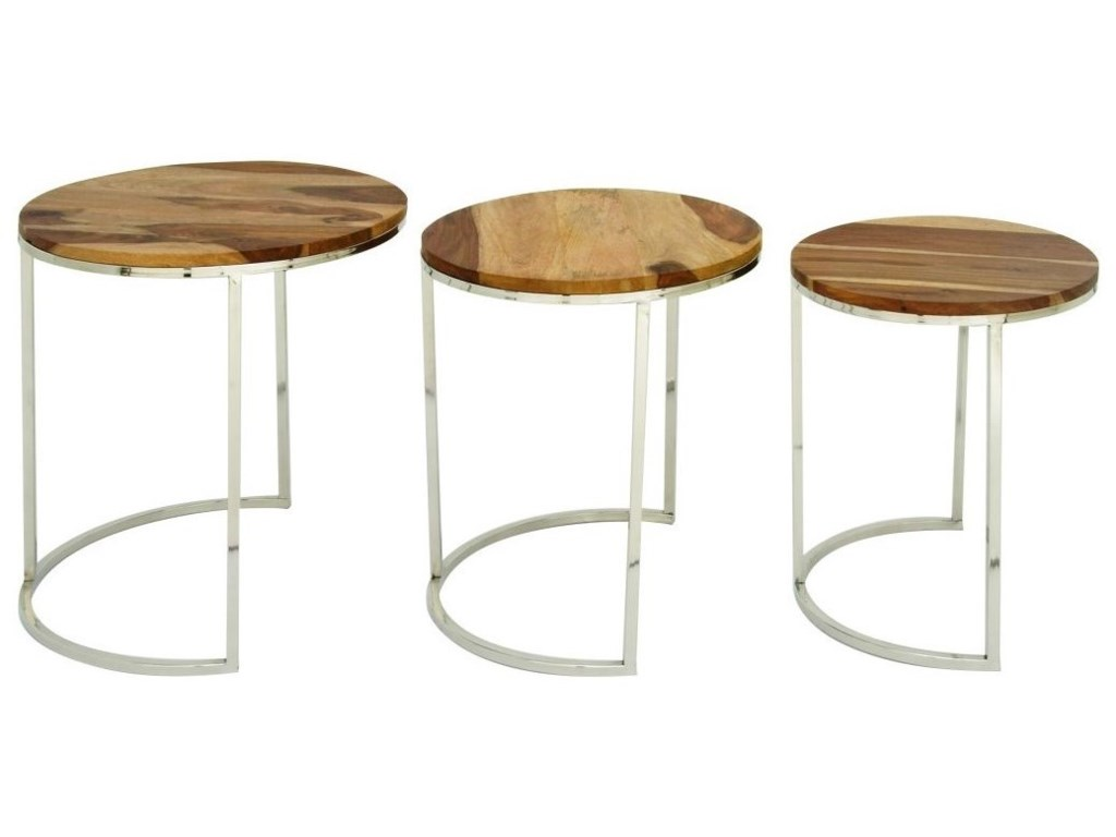 UMA Enterprises, Inc. Accent FurnitureWood/Stainless Steel Nesting Tables, S/3