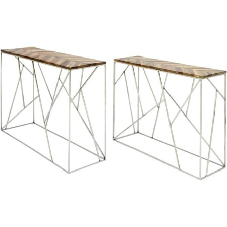 Stainless Steel/Wood Consoles, Set of 2