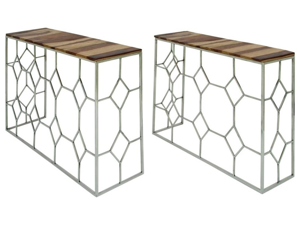Accent Furniture Stainless Steel Wood Consoles Set Of 2 By Uma Enterprises Inc