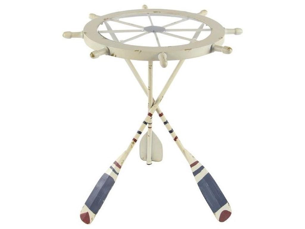 UMA Enterprises, Inc. Accent FurnitureMetal/Glass Shipwheel Table