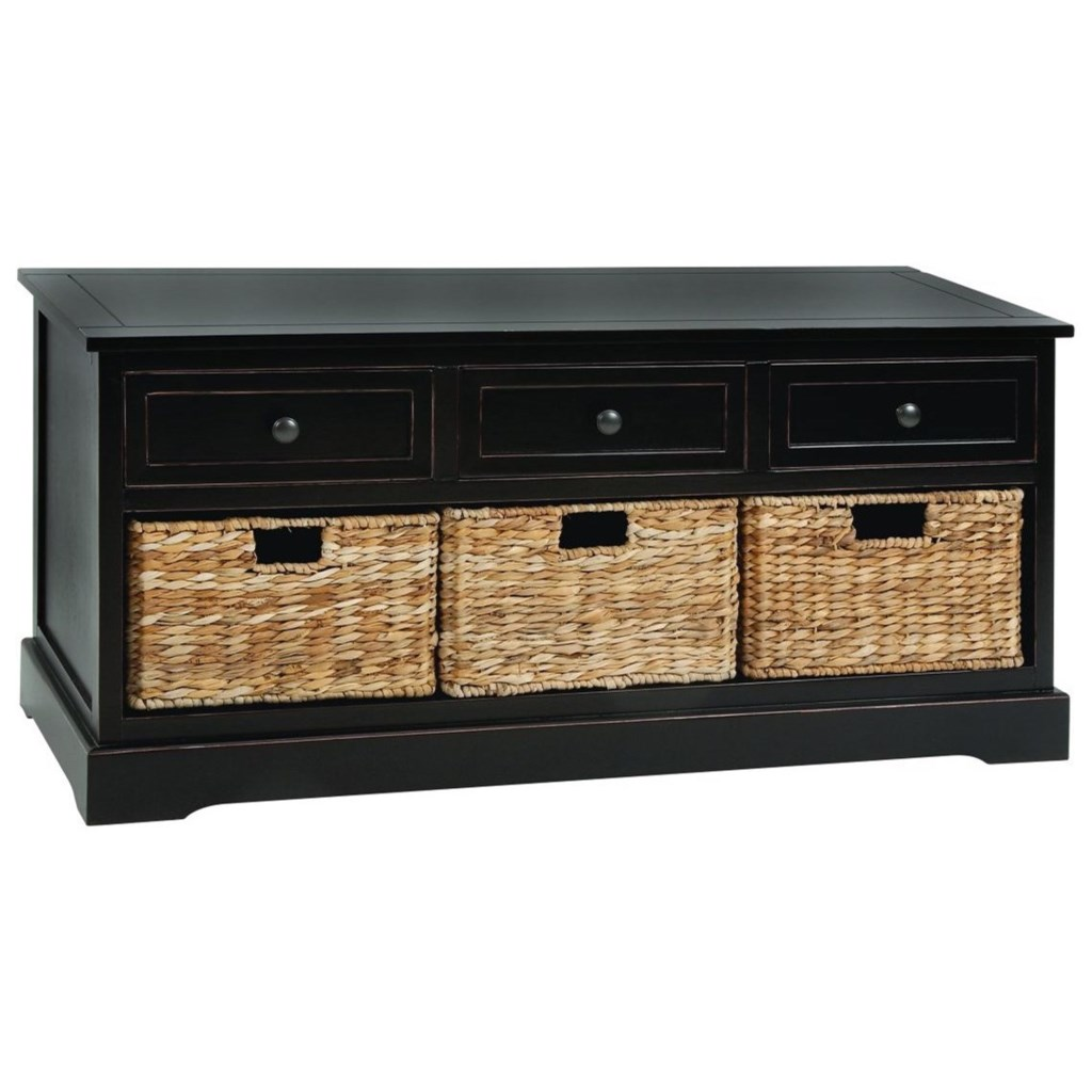 Wood Wicker Basket Chest Accent Furniture By Uma Enterprises Inc