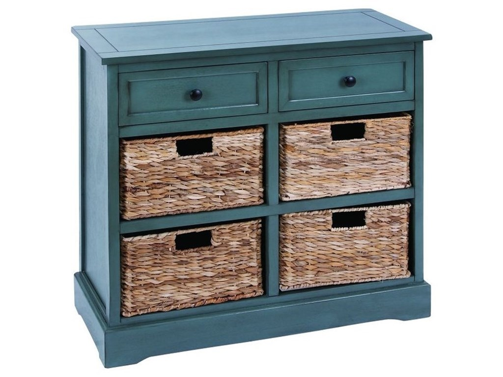 UMA Enterprises, Inc. Accent FurnitureWood Wicker Basket Cabinet