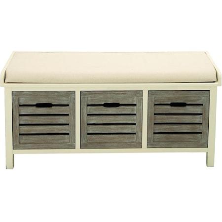 Wood 3 Drawer Fabric Bench