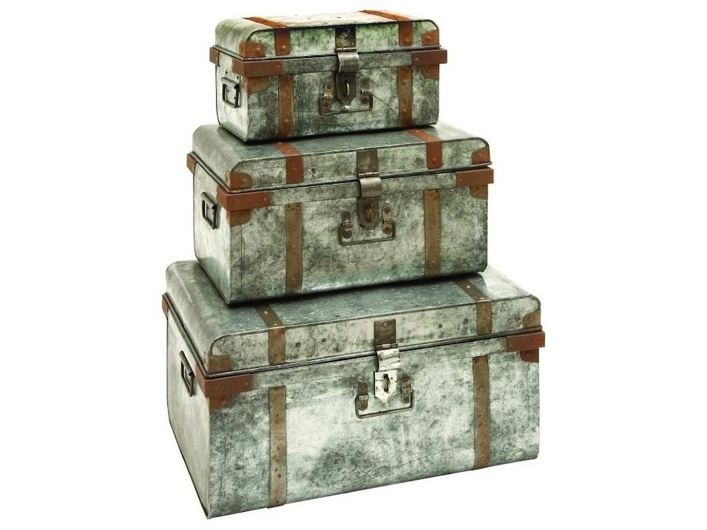 UMA Enterprises, Inc. AccessoriesMetal Galvanized Trunks, Set of 3