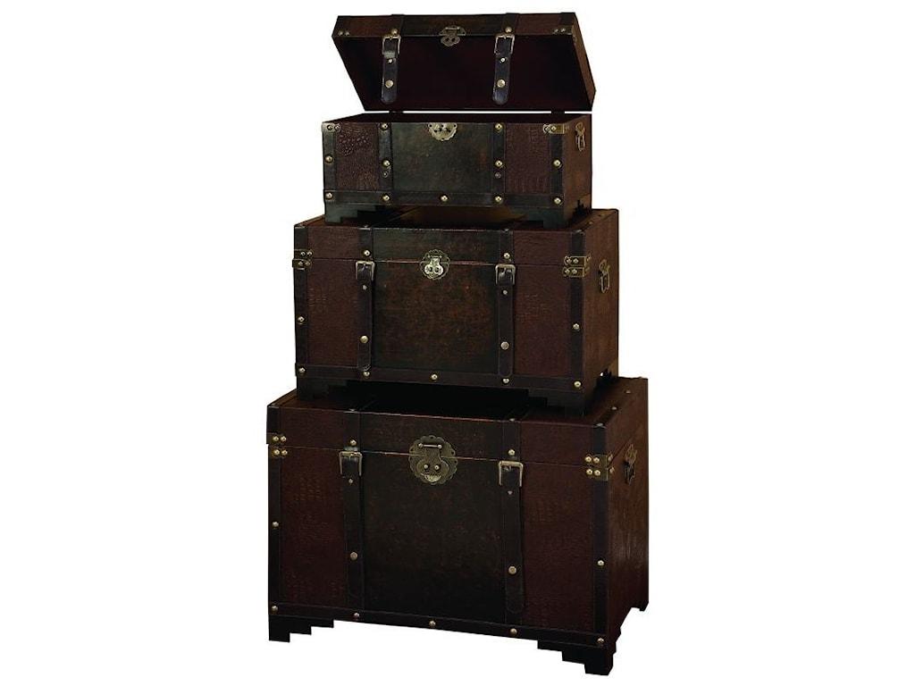 UMA Enterprises, Inc. AccessoriesWood/Faux Leather Trunks, Set of 3