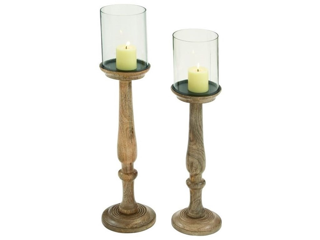 UMA Enterprises, Inc. AccessoriesWood/Glass Candle Holders, Set of 2