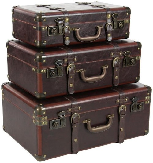 UMA Enterprises, Inc. Accessories Wood/Leather Cases, Set of 3