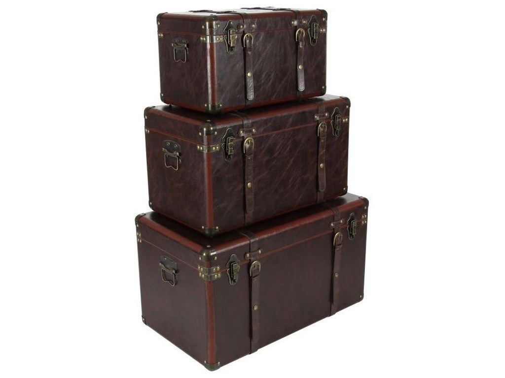 UMA Enterprises, Inc. AccessoriesWood/Leather Trunks, Set of 3