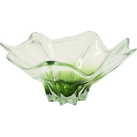 Glass Clear Green Flute Bowl
