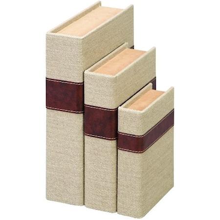 Wood Burlap Book Boxes, Set of 3