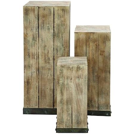 Wood Pedestals, Set of 3