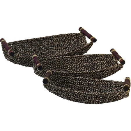 Seagrass Metal Baskets, Set of 3