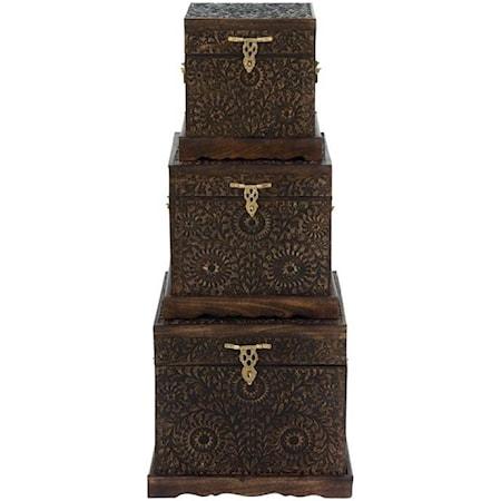 Wood Carved Trunks, Set of 3