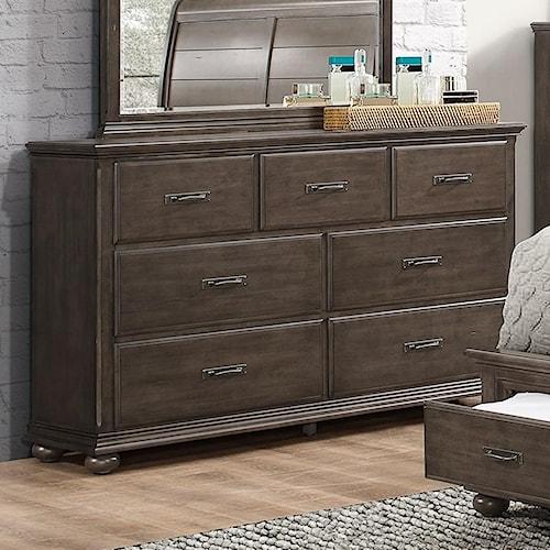 Umber Larissa Rustic Dresser with 7 Drawers