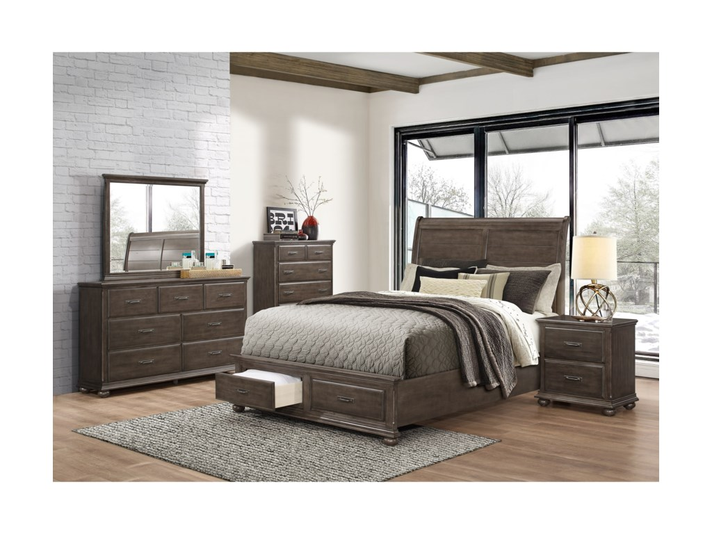 Simmons Upholstery 1026Queen Sleigh Bed