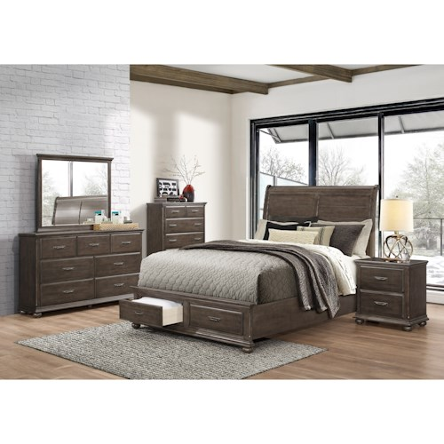 Umber Larissa Rustic Queen Sleigh Bed with Footboard Storage