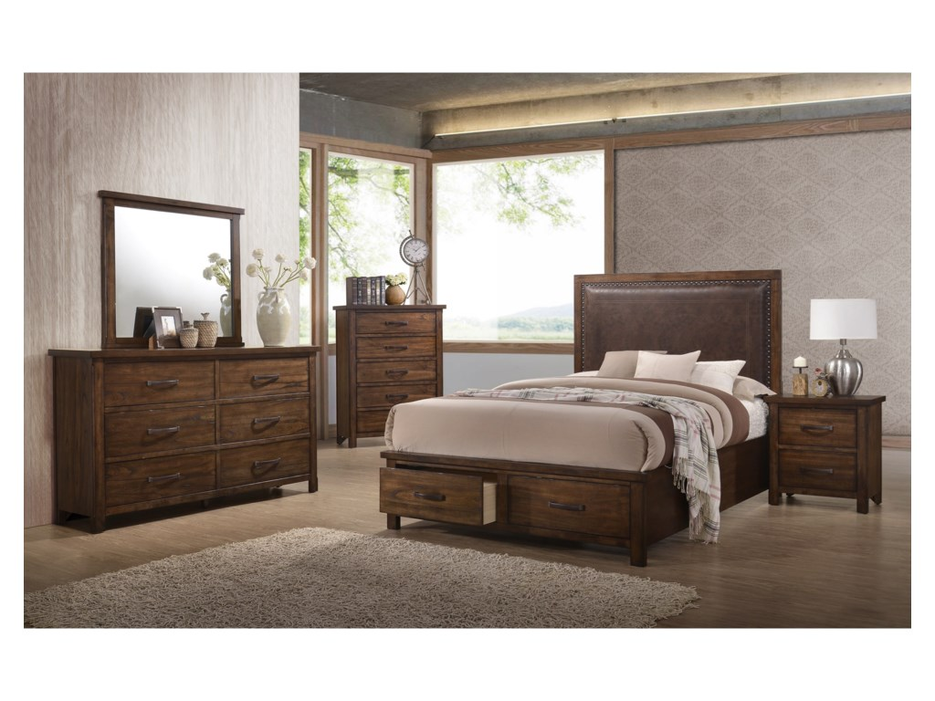 United Furniture Industries CameronKing Upholstered Storage Bed