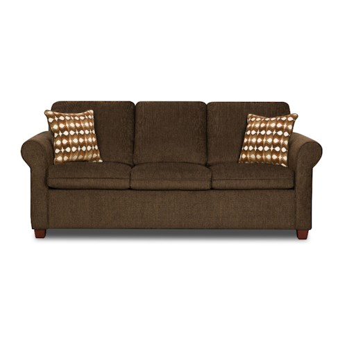 United Furniture Industries 1630 Transitional Queen Rolled Arm Sofa Sleeper