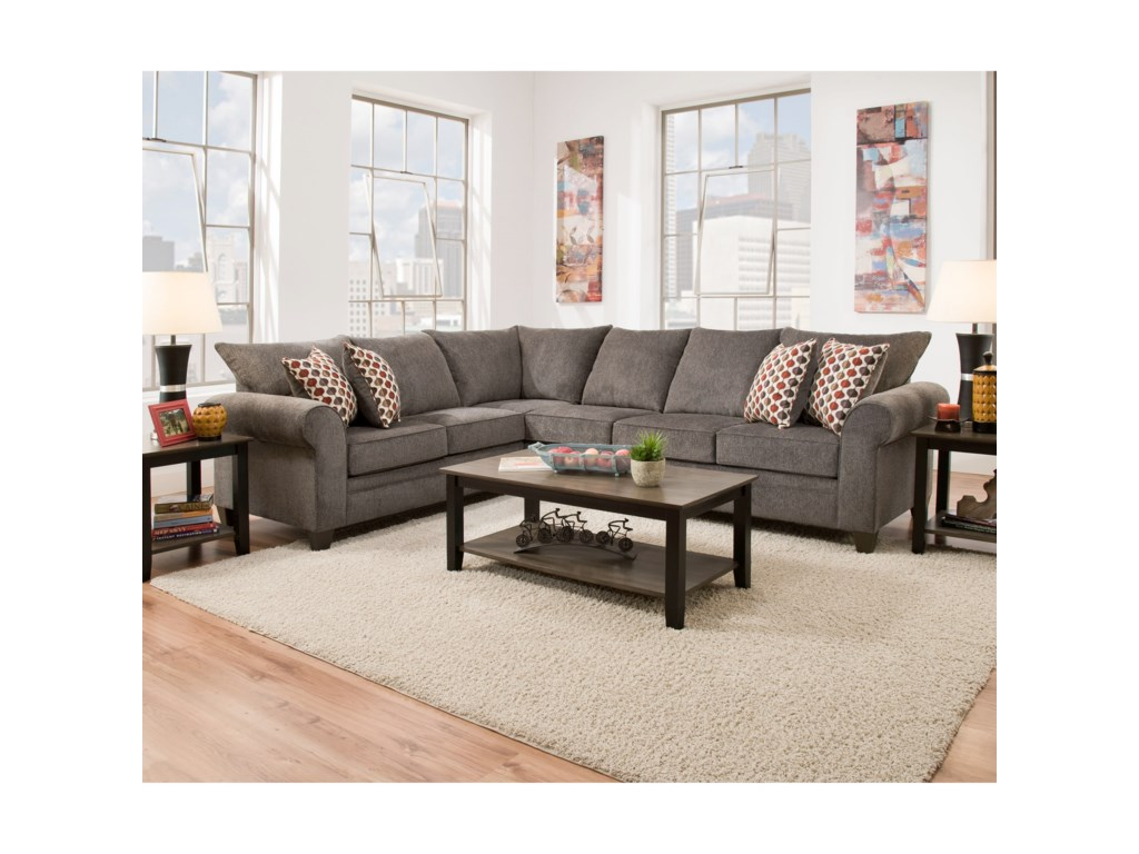 Simmons Upholstery 16475-Seat Sectional with Sleeper Sofa