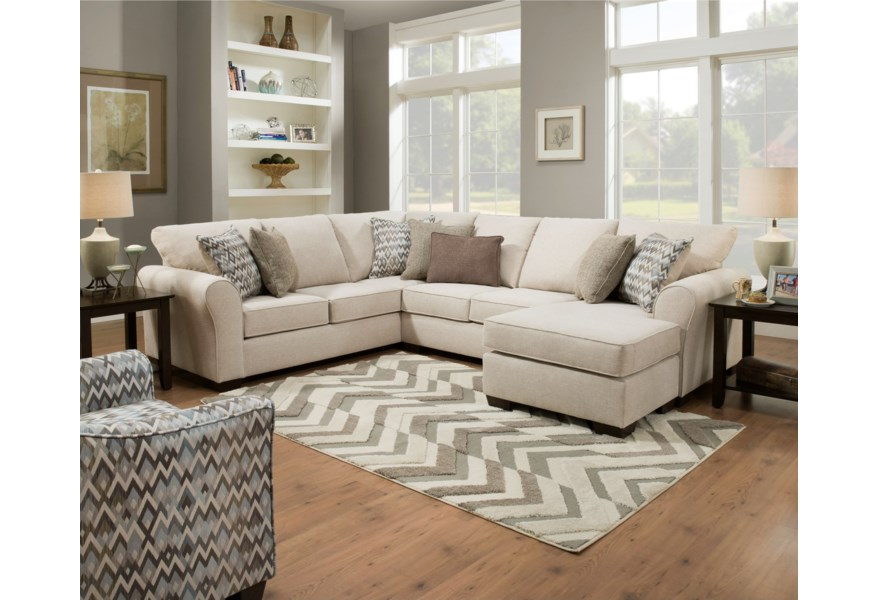 1657 Casual Sectional Sofa with Right Arm Facing Chaise by Simmons  Upholstery at Dunk & Bright Furniture