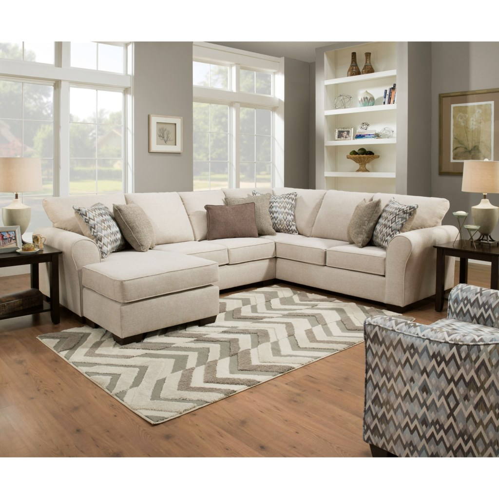 Simmons Upholstery 1657 Casual Sectional Sofa With Left Arm Facing