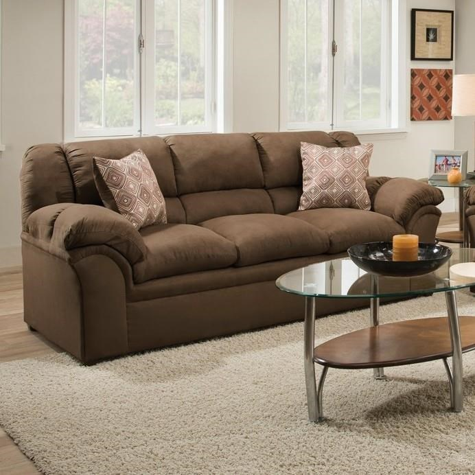 Simmons Upholstery 1720 United Casual Sofa With Pillow Arms Royal