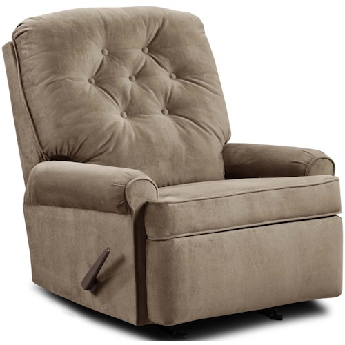 Umber JULES Transitional Rocker Recliner with Button Tufting