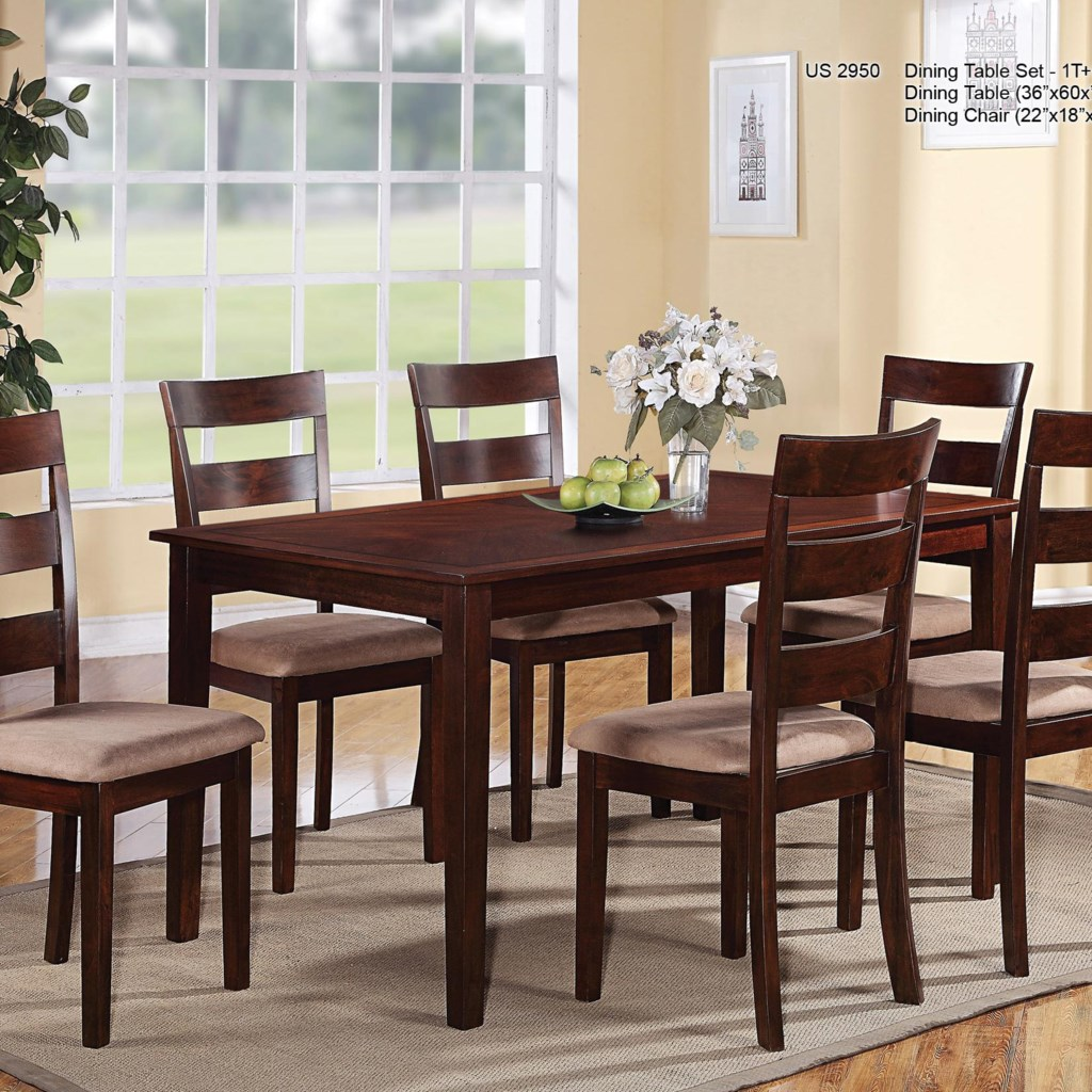 U s furniture inc 2950 casual seven piece rectangular table and ladder backed chairs dining set