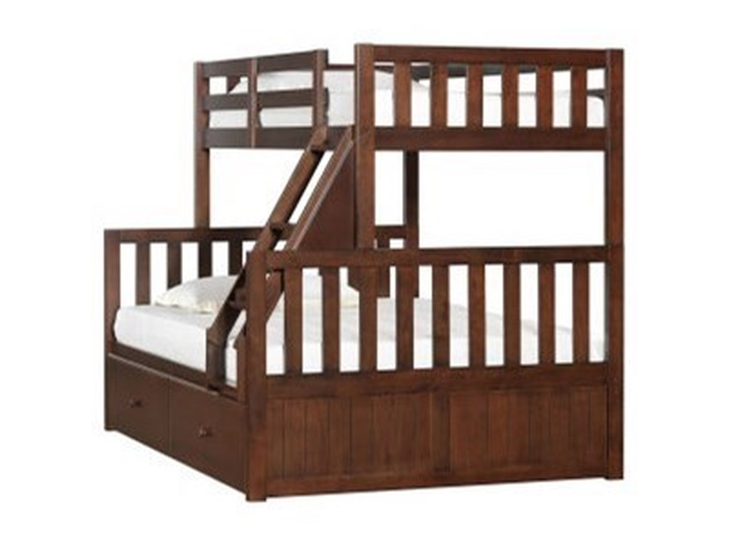 Simmons Upholstery 3000 Mission Hills ChesnutYouth Bunk Bed with Storage