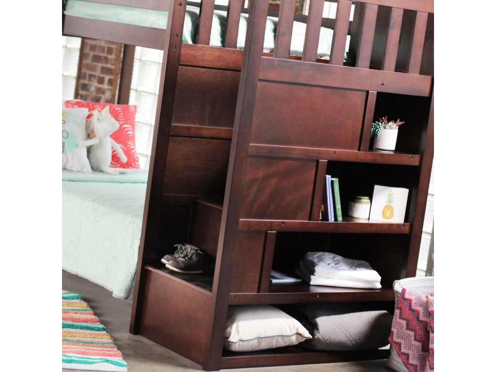 Simmons Upholstery 3000 Mission Hills ChesnutBunkbed with Stairs and Storage